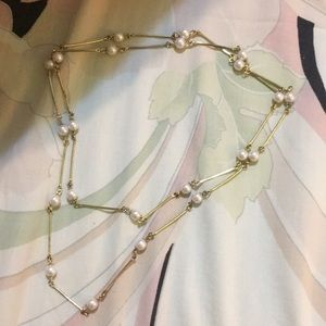 Forever 21 Gold pearl long necklace